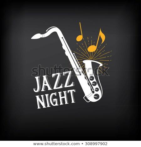 Jazz nuit affiche design graphique trompette Photo stock © Kaludov