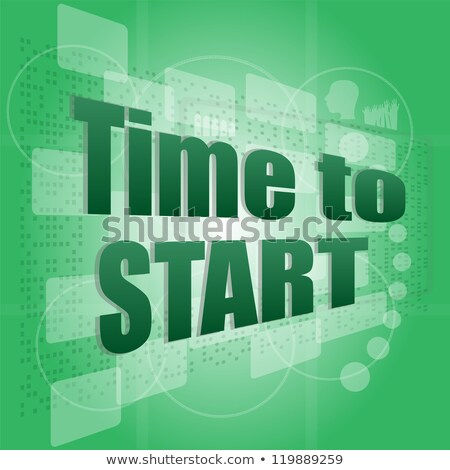Pixelated Words Time To Start On Digital Screen Business Stock fotó © fotoscool