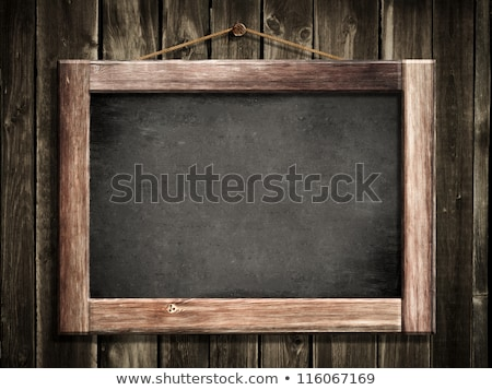 Grunge small blackboard hanging on wooden wall as a background f Stock photo © inxti