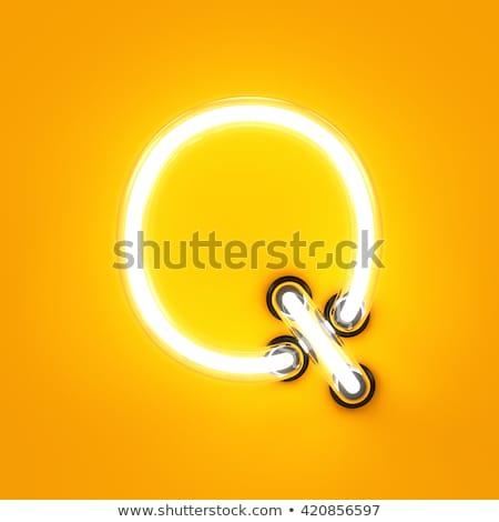 izzó · neon · betűtípus · fényes · q · betű · fekete - stock fotó © deyangeorgiev