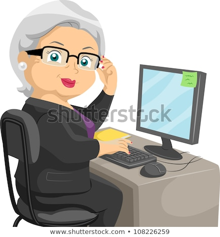 elderly woman and girl with computer Stock photo © photography33