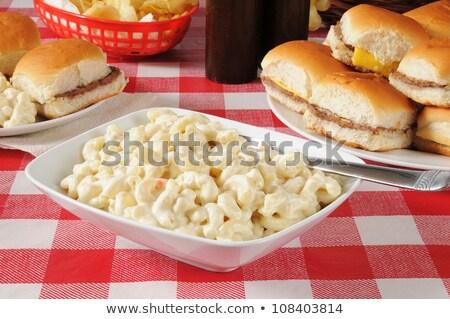 maccheroni · insalata · piatto · tavolo · da · picnic · alimentare · tavola - foto d'archivio © saddako2