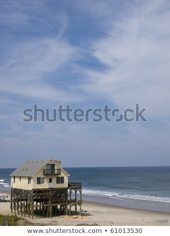 beach with cottages at Nags Head in the outer banks Stock photo © meinzahn