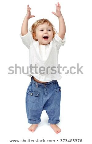 Boldog egyéves baba fiú sétál fehér Stock fotó © dacasdo