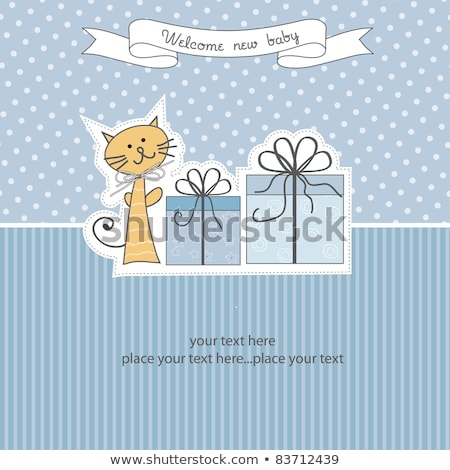 Stock photo: baby boy announcement card with cat