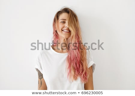 retrato · elegante · mulher · longo · marrom · cabelos · lisos - foto stock © chesterf