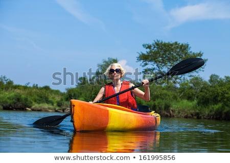 Kadın tek başına nehir Stok fotoğraf © aetb