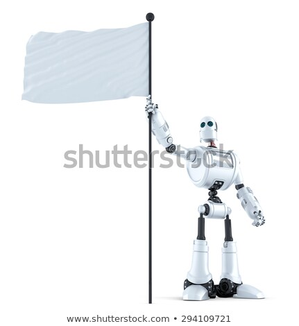 android robot with white blank waving flag stock photo © kirill_m