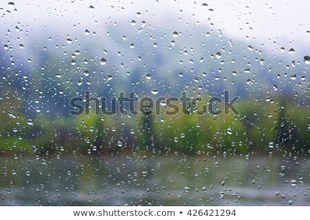 View Through The Window To The Landscape In Heavy Rain Photo stock © TasiPas