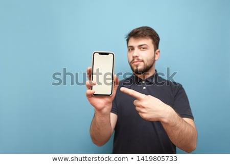 Stockfoto: Man · tonen · shirt · toevallig · grijs · exemplaar · ruimte