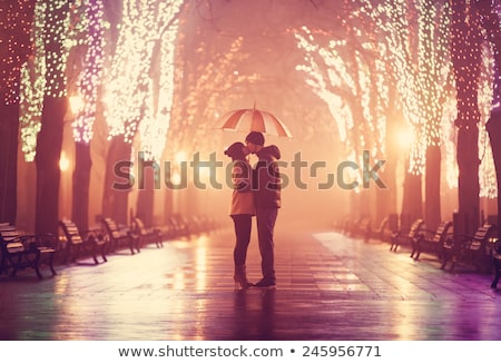 vetor · moço · mulher · silhueta · luz · lua - foto stock © orensila