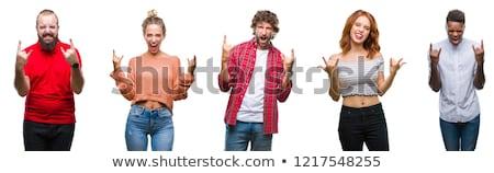 Rock rollen gebaar vrouwelijke hand geïsoleerd Stockfoto © Taigi
