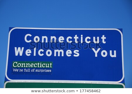 Foto stock: Road Sign Welcome To Connecticut