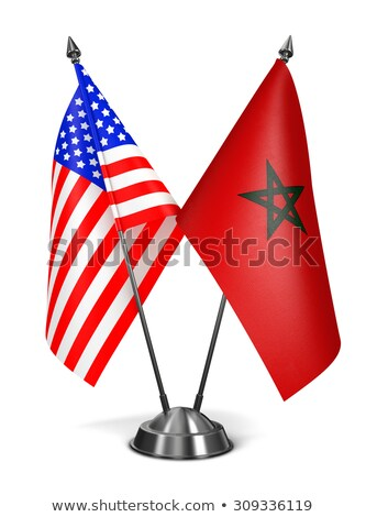 EUA Marrocos miniatura bandeiras isolado branco Foto stock © tashatuvango