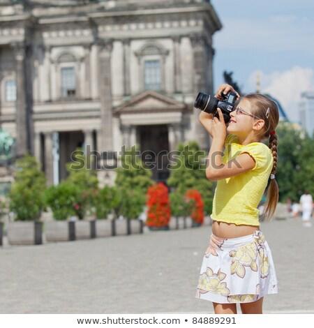 Turista pozitív vicces karakter bájos édes Stock fotó © Leftleg
