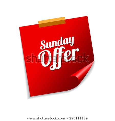 Sunday Offer Red Sticky Notes Vector Icon Design Stock photo © rizwanali3d