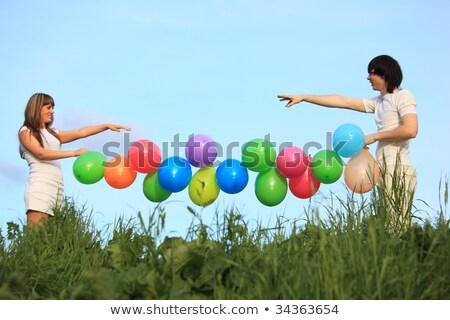 девушки · парень · гирлянда · многоцветный · шаров - Сток-фото © Paha_L