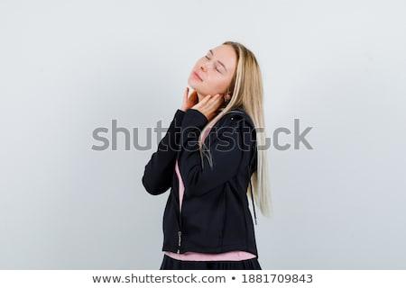 Pacífico mujer tocar cuello blanco feliz Foto stock © wavebreak_media