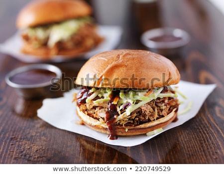 豚肉 サンドイッチ ジャガイモ サイド バーベキューソース ストックフォト © rojoimages