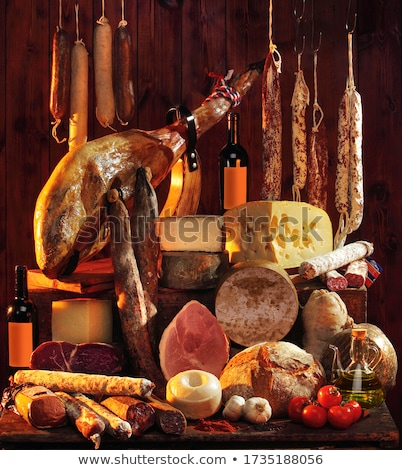 rústico · naturaleza · muerta · salchicha · graso · frito · frescos - foto stock © sharpner