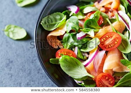 Friss zöldség lazac saláta reszelt sajt étel sajt Stock fotó © Digifoodstock