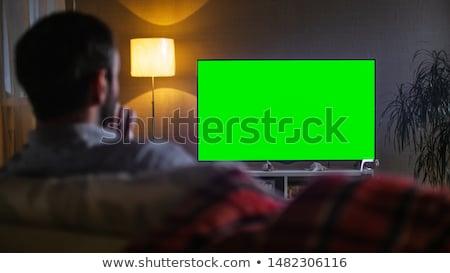 男 を見て テレビ ハンサムな男 座って ソファ ストックフォト © MikLav