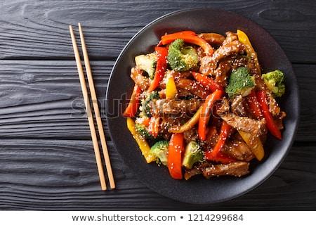 Marhahús szezám finom szeletel piros paprika Stock fotó © zhekos