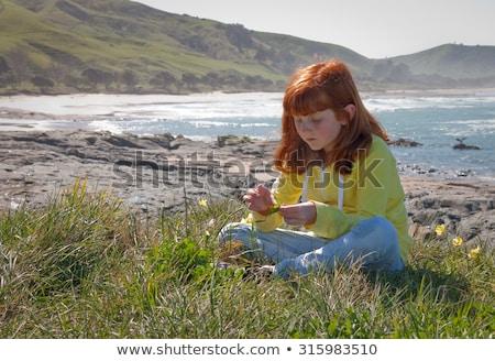 Mädchen Gänseblümchen Kette Stock foto © ndjohnston