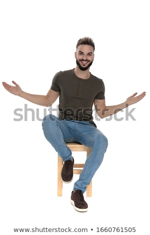 seated casual man welcoming with open arms Stock photo © feedough