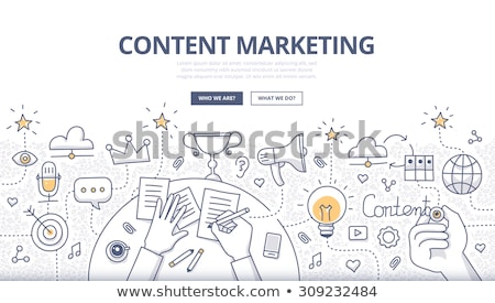 social media advertising concept with doodle design style online solution stock photo © davidarts