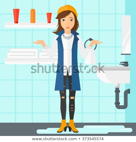 Woman in despair standing near leaking sink. Stock photo © RAStudio