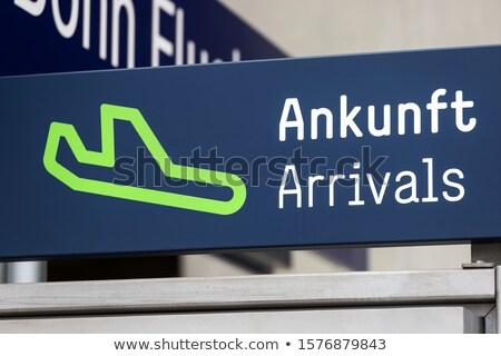 Podpisania lotniska żółty międzynarodowych podróży samolot Zdjęcia stock © luissantos84