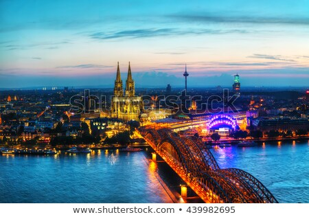 cologne aerial overview after sunset stock photo © andreykr