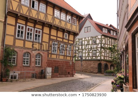 panorama of street with half timbered houses in Nordhausen Stock photo © meinzahn