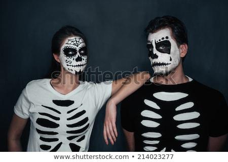 bella · donna · verniciato · scheletro · halloween · fiori · vernice - foto d'archivio © dashapetrenko