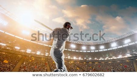 Homem jogar críquete campo ilustração esportes Foto stock © bluering