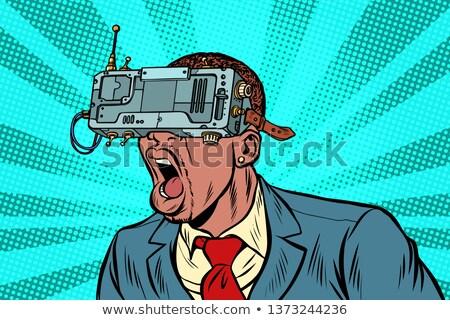 Boldog sikít férfi visel virtuális valóság Stock fotó © deandrobot