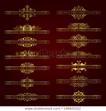 Foto stock: Large Collection Of Golden Ornate Calligraphic Design Elements - Vector Set