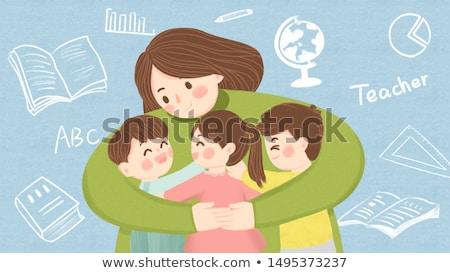 We Help - Cartoon Illustration on Blue Chalkboard. Stock photo © tashatuvango