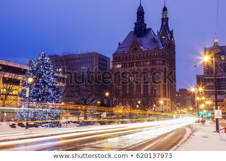 Winter calgary panorama stad hemel gebouw Stockfoto © benkrut
