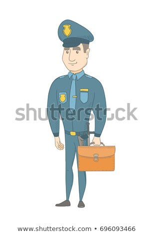 Young caucasian policeman holding a briefcase. Stock photo © RAStudio