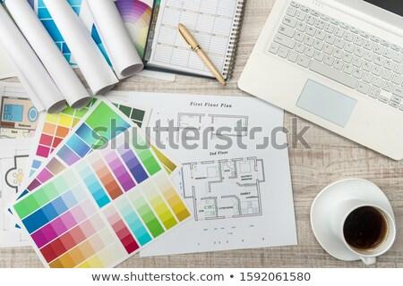 Overhead of colorful palette on table Stock photo © wavebreak_media