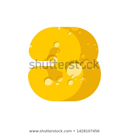 figure 3 cheese font. numeral three of cheesy alphabet. Dairy Fo Stock photo © popaukropa