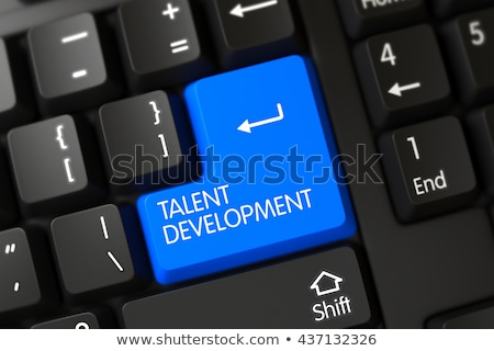 Stockfoto: Blauw · talent · ontwikkeling · knop · toetsenbord