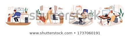 travaux · surcharge · homme · papier · asian · bureau - photo stock © lenm