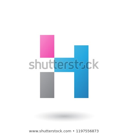 grey letter h with rectangular shapes vector illustration stock photo © cidepix