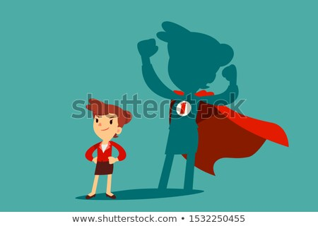 Woman standing in front of a strong hero vision Stock photo © ra2studio