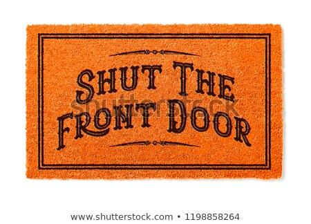 Stockfoto: Gesloten · voordeur · halloween · oranje · welkom · geïsoleerd
