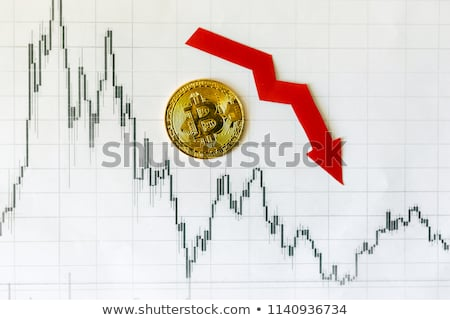 Spadek bitcoin czerwony arrow w dół redukcja Zdjęcia stock © MaryValery