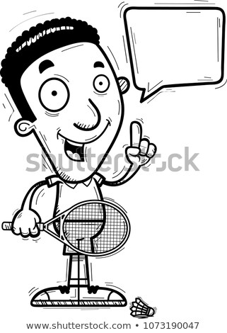 Desenho animado preto badminton jogador falante ilustração Foto stock © cthoman